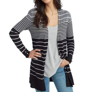 Sweaters - Womens Graduated Stripe Open Front Duster Cardigan